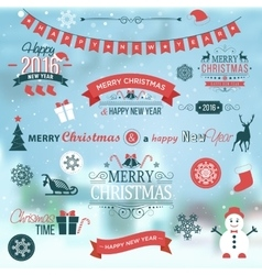 Christmas set labels emblems on winter background vector image