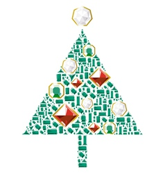 Christmas tree of gems vector image