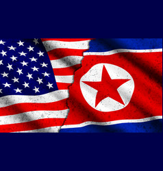 Concept with flags usa and north korea vector