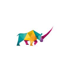 creative abstract colorful rhinoceros logo design vector image