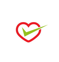 Creative heart check logo design symbol vector
