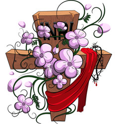 cross with flowers happy easterpassover vector image