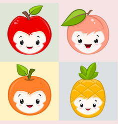 cute cartoon fruits vector image