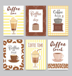 design template of vintage cards for coffee shop vector image