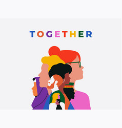 Diverse people face together teamwork concept vector