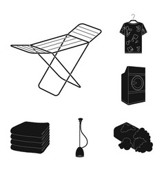 Dry cleaning equipment black icons in set vector