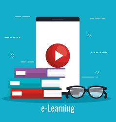 electronic education with smartphone vector image