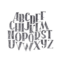 English hand drawn abc from a to z Capital font vector image