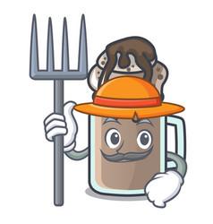 Farmer milkshake character cartoon style vector