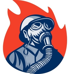 Fireman or firefighter wearing vintage gas mask vector