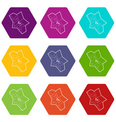 Five pointed star icons set 9 vector