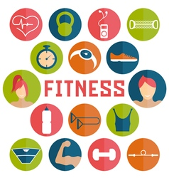 flat design icons of fitness elements vector image