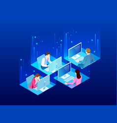 four isometric office workers in the office vector image