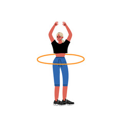 Girl twirling hula hoop around her waist physical vector