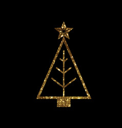 Golden glitter christmas tree line icon vector