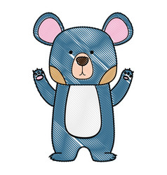 Grated cute bear wild animal of the forest vector