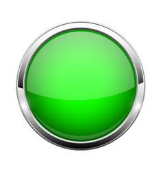 Green glass button shiny round 3d web icon vector