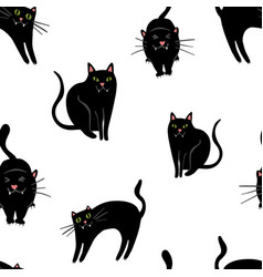 Halloween pattern with black cats on white vector