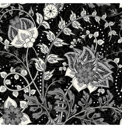 Hand-drawn paisley Flowers and paisley black vector