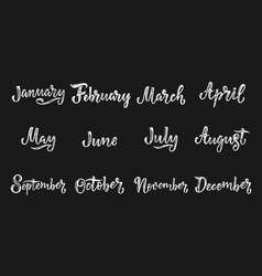 Handwritten names months december january vector