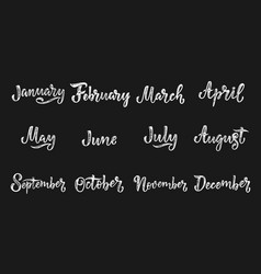 Handwritten names of months december january vector