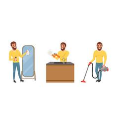 Happy bearded man in yellow sweater washing mirror vector
