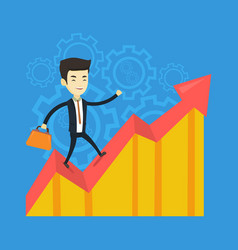 happy business man standing on profit chart vector image