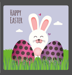 happy easter greeting card with two eggs and bunny vector image