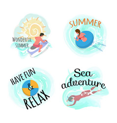 Have fun and relax sea adventures summer set vector