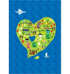 heart island vector image