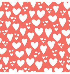 heart seamless pattern background red white vector image