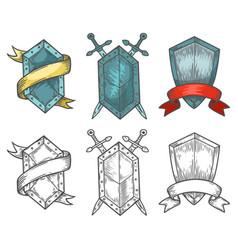 heraldic medieval hand drawn shields sketch vector image