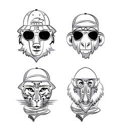 Hipster wild animals cartoon vector