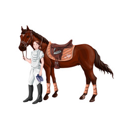 Horse and rider girl woman in ammunition for vector