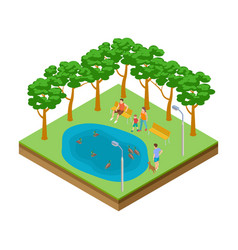 isometric pond with ducks in city park vector image
