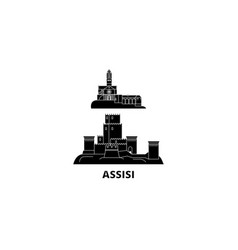 Italy assisi flat travel skyline set italy vector