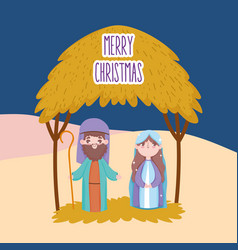 Joseph and mary hut desert manger nativity merry vector