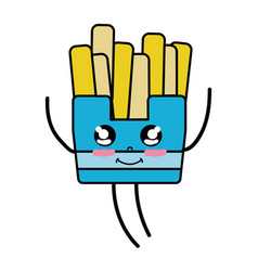 kawaii cute happy fries french food vector image