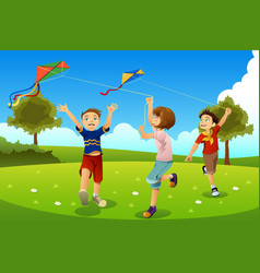 Kids flying kites in a park vector