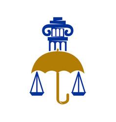 Law justice firm umbrella pillar logo design vector