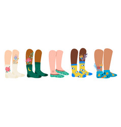 Legs in socks female and male feet vector