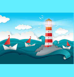 Lighthouse and boats floating on sea paper vector