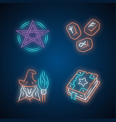 Magic neon light icons set pentagram runestones vector