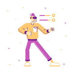 man in vr goggles fighting virtual reality vector image