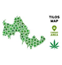 Marijuana collage tilos greek island map vector