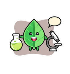 Mascot character leaf as a scientist vector