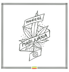 Medical marijuana logo black eight vector