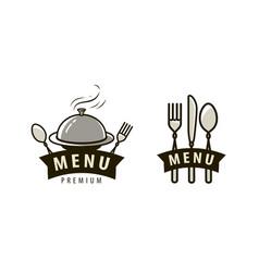 menu logo or label food service restaurant cafe vector image