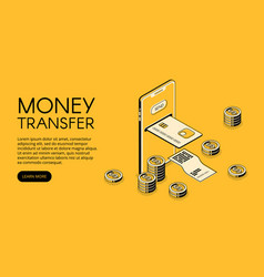 Money transfer smartphone vector