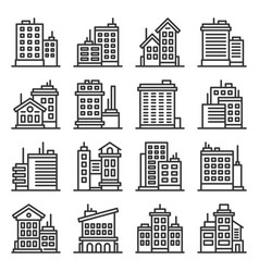 office building architecture icons set on white vector image